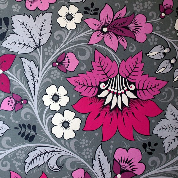 Hot Pink and Grey Wallpaper for interior