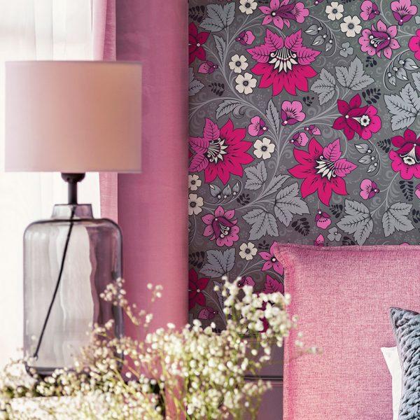 Hot Pink and Grey Wallpaper