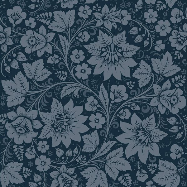 Navy Floral wallpaper, Dark Blue Wallpaper