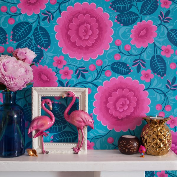 Bold Floral wallpaper. Mantepiece