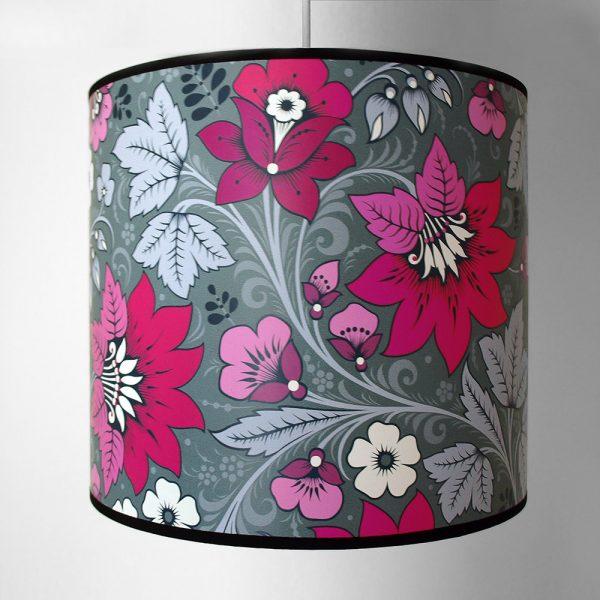 Olenka Design Milana Hot Pink and Grey Lampshade