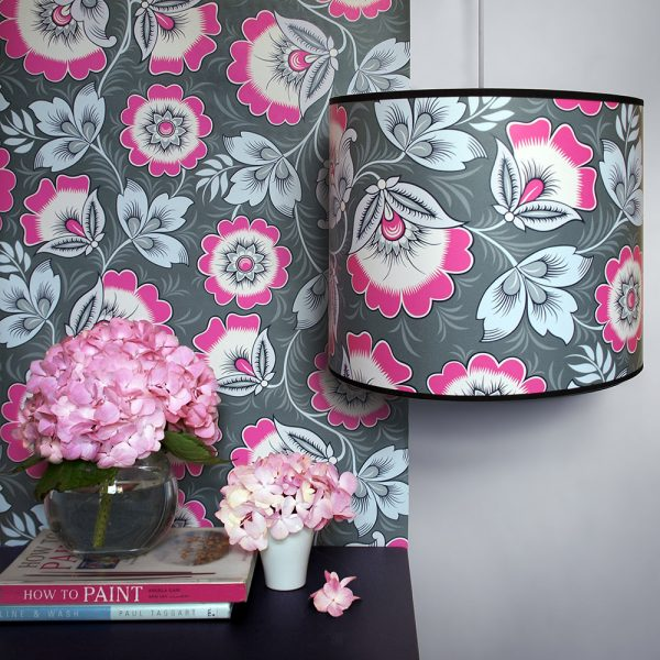 Neva Pink and Grey Lampshade Olenka Design