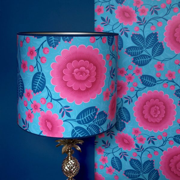 A high quality blue and pink floral lampshade, handmade using Olenka Velina Tropical wallpaper