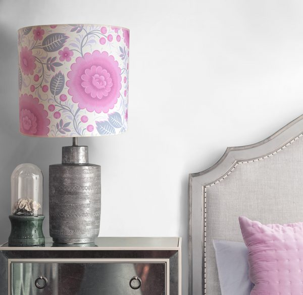 A high quality pink and white floral lampshade, handmade using our Velina Pink Peony wallpaper