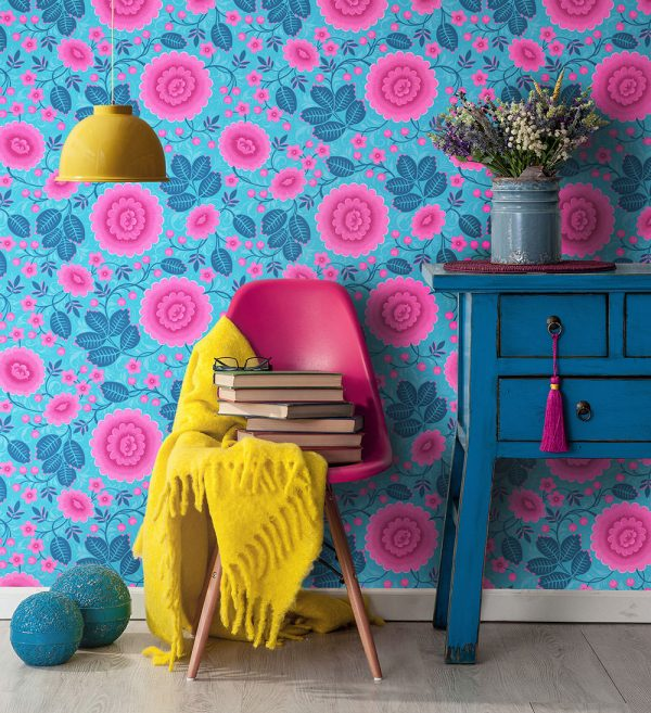 Bold Floral Wallpaper interior