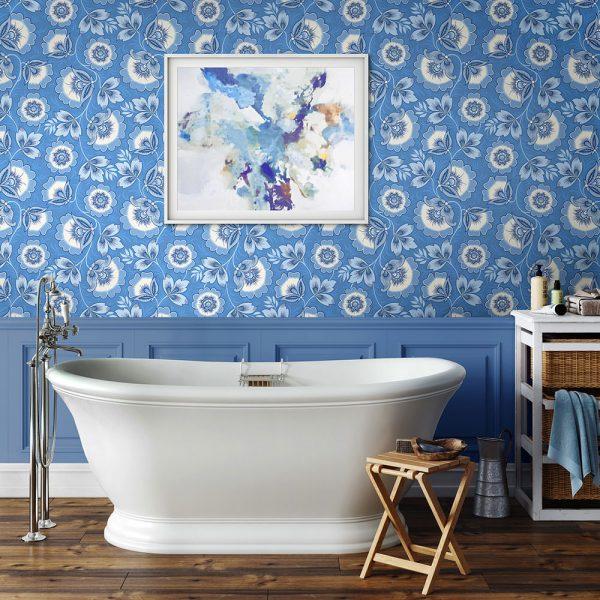 Light Blue wallpaper in the bathroom